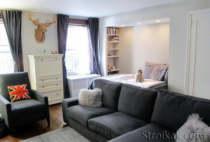 Дизайн спального места в однокомнатной