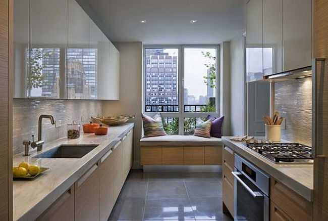 Дизайн прямоугольной кухни