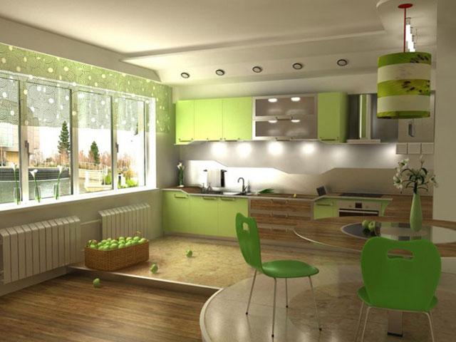 Зонирование и освещение на кухне, совмещенной с гостиной
