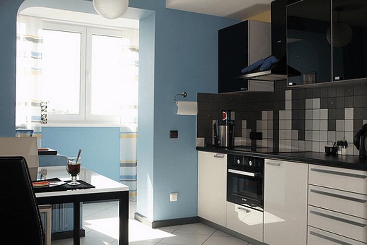 Дизайн кухни, объединенной с лоджией