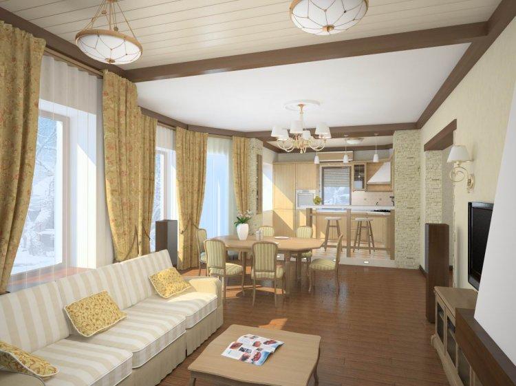 Правильный дизайн кухни, совмещенной с залом