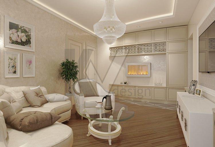 Классический стиль для дизайна 2-комнатной квартиры в доме серии п44т