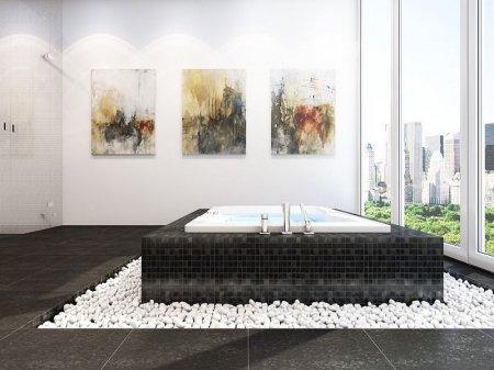 Идея дизайна: пол из гальки в ванной комнате