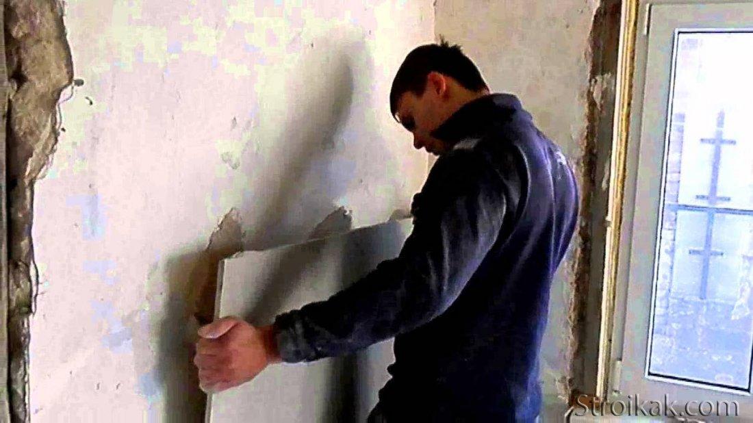 гипсокартон на саманные стены