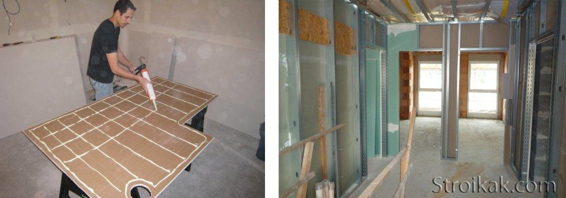Выравниваем стену гипсокартоном клеевым методом