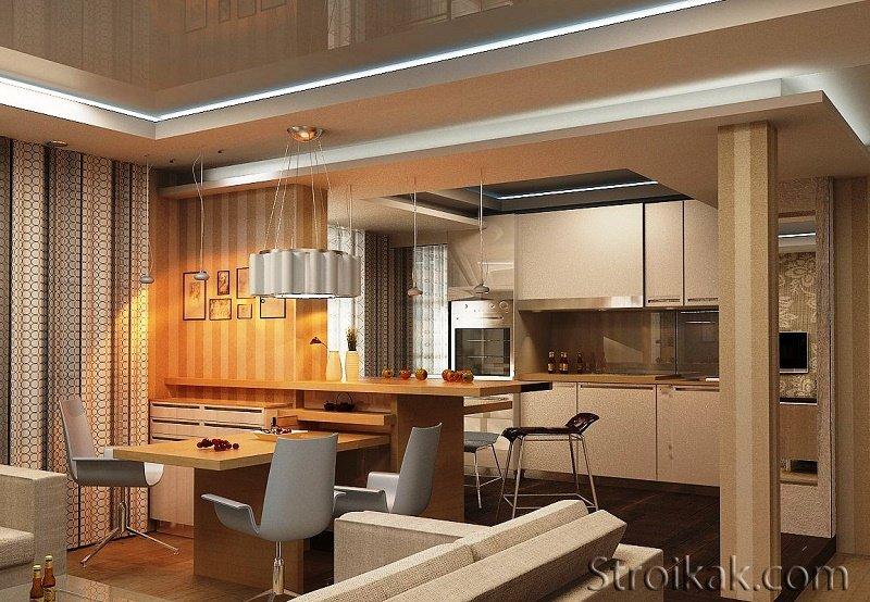 Кухня совмещенная с гостиной: плюсы и минусы.