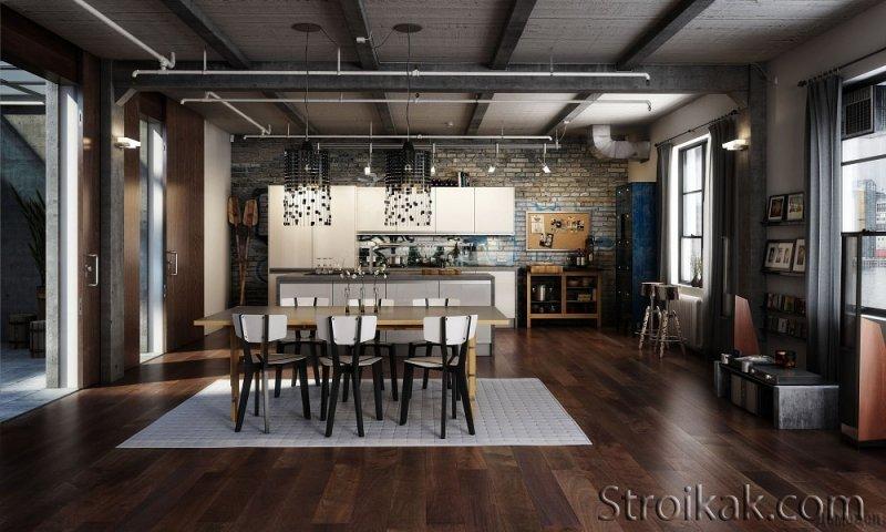 Интерьер кухни в стиле лофт