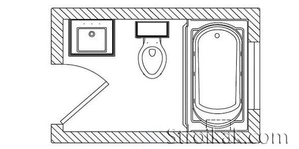 Совмещенный санузел с ванной схема