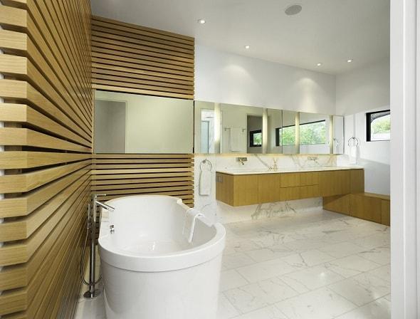 Древесина в отделке ванной
