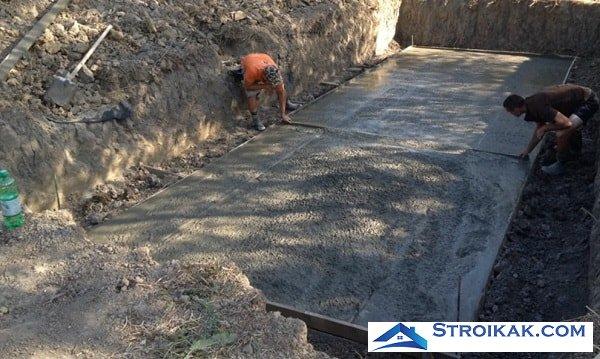 Погреб заливка бетона