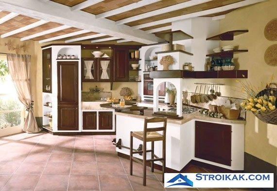 Интерьер кухни с открытыми полками