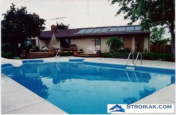 Нагрев воды в бассейне солнечными батареями