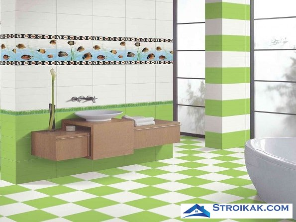 Бело-зеленая плитка в ванной