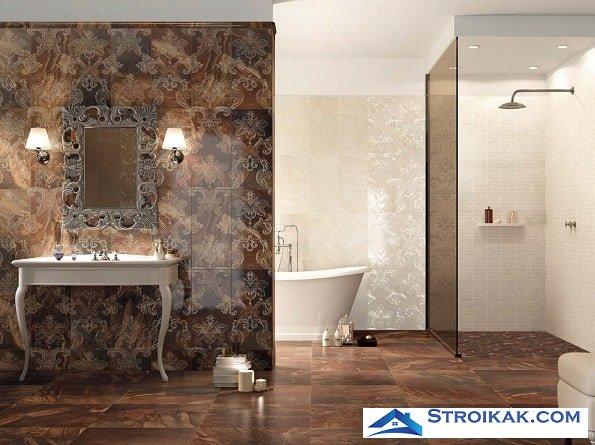 Настенная плитка в ванной