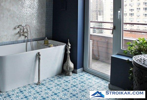Керамическая плитка на пол в ванной укладка