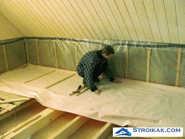 Утепление пола второго этажа деревянного дома