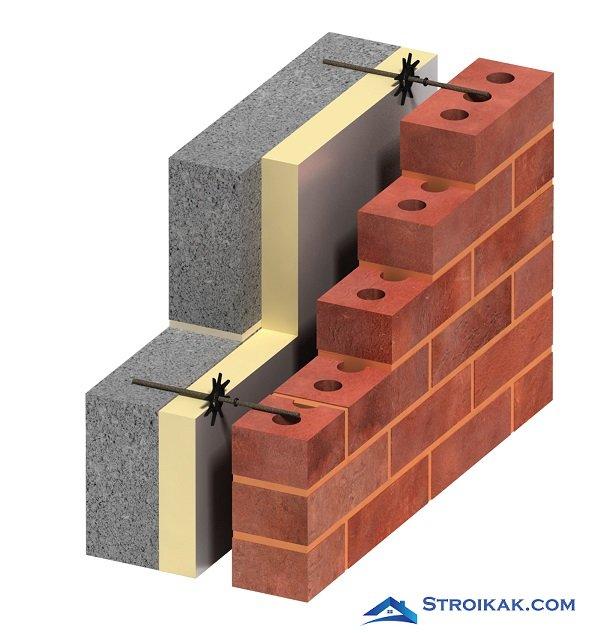 Трехслойная стена дома соединение слоев