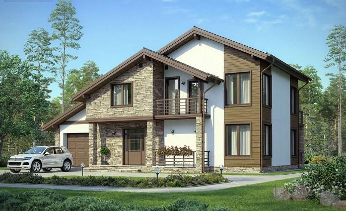 Каркасный дом с встроенным гаражом